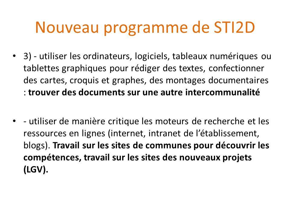 Nouveau programme de STI2D 3) - utiliser les ordinateurs, logiciels, tableaux numériques ou tablettes graphiques pour rédiger des textes, confectionne