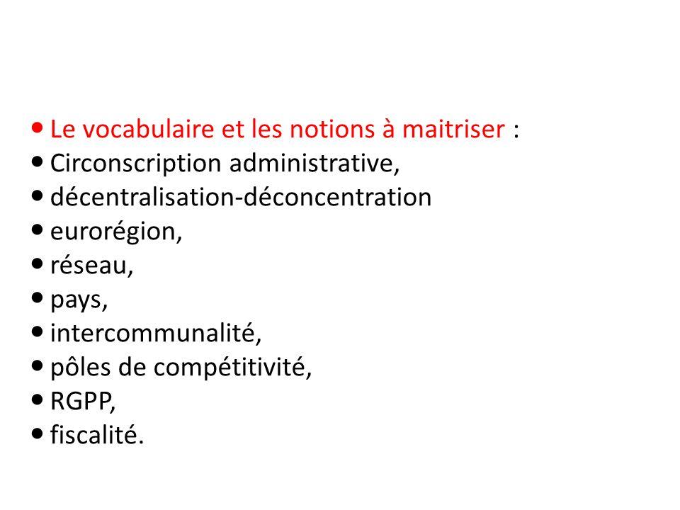 Le vocabulaire et les notions à maitriser : Circonscription administrative, décentralisation-déconcentration eurorégion, réseau, pays, intercommunalit