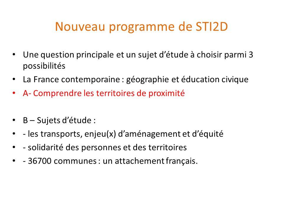 Nouveau programme de STI2D Une question principale et un sujet détude à choisir parmi 3 possibilités La France contemporaine : géographie et éducation