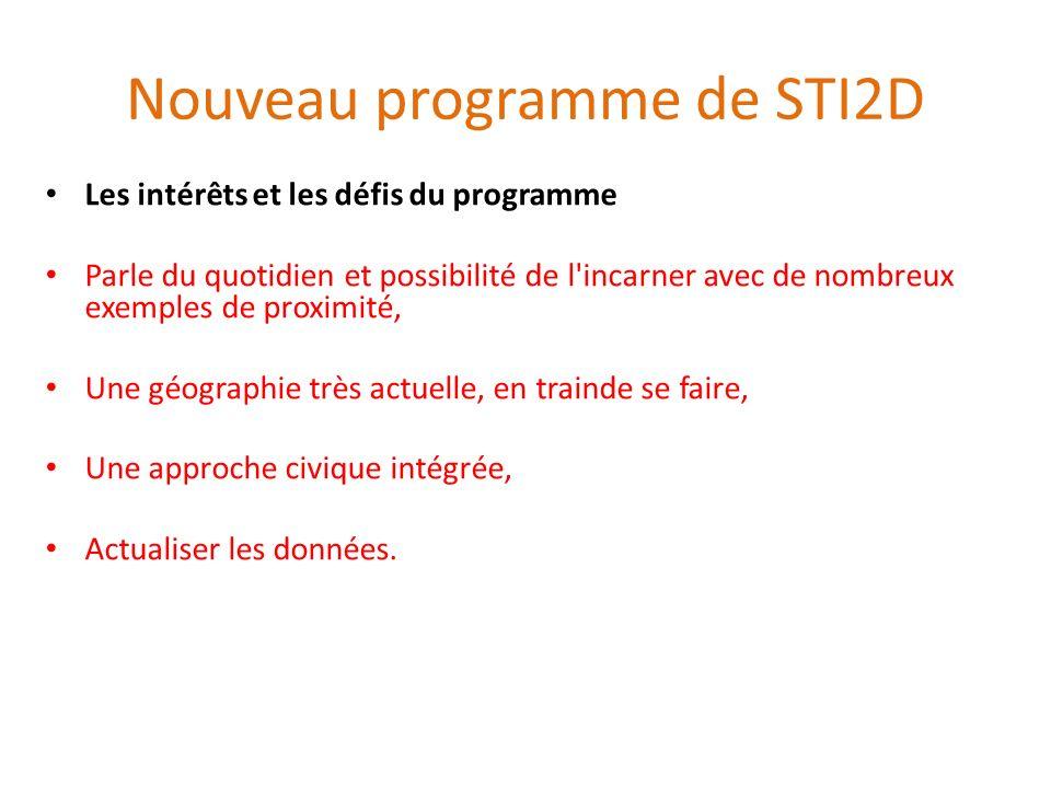 Nouveau programme de STI2D Les intérêts et les défis du programme Parle du quotidien et possibilité de l'incarner avec de nombreux exemples de proximi