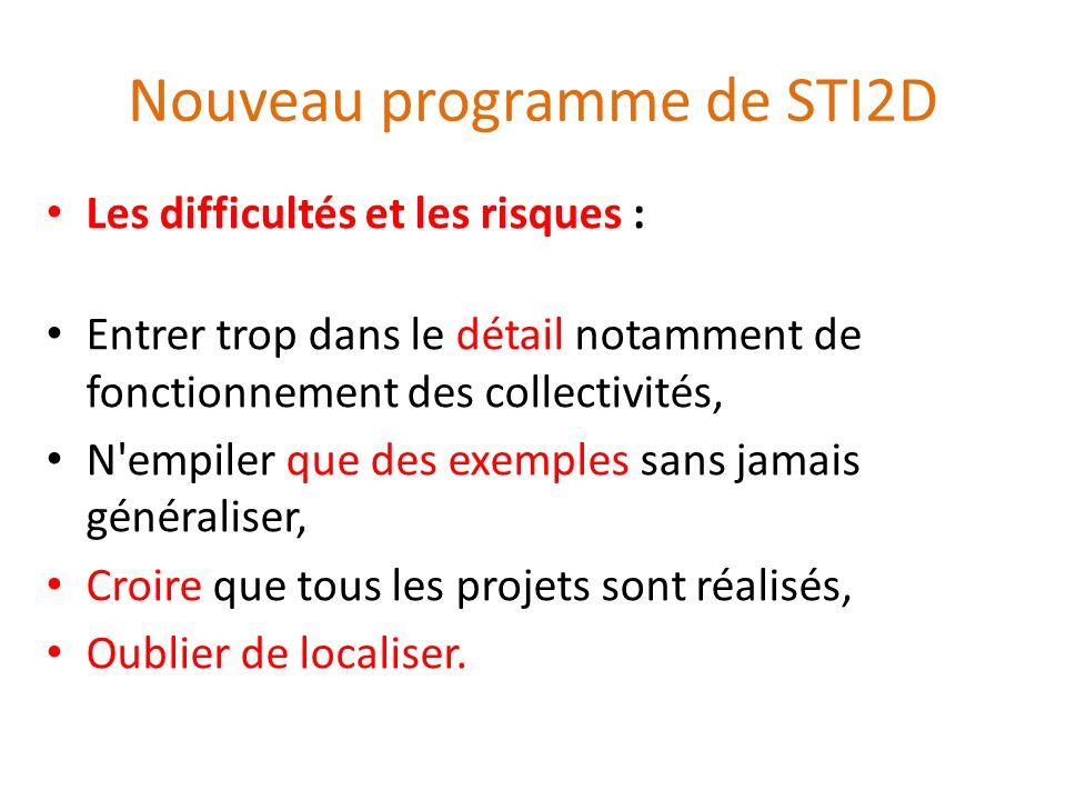 Nouveau programme de STI2D Les difficultés et les risques : Entrer trop dans le détail notamment de fonctionnement des collectivités, N'empiler que de