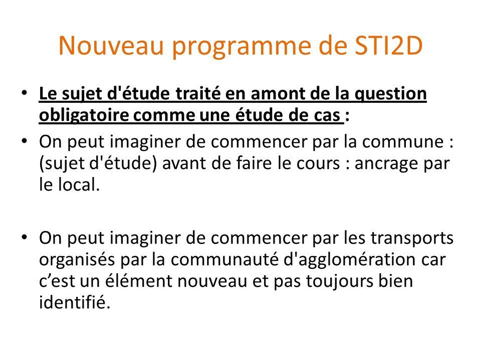 Nouveau programme de STI2D Le sujet d'étude traité en amont de la question obligatoire comme une étude de cas : On peut imaginer de commencer par la c