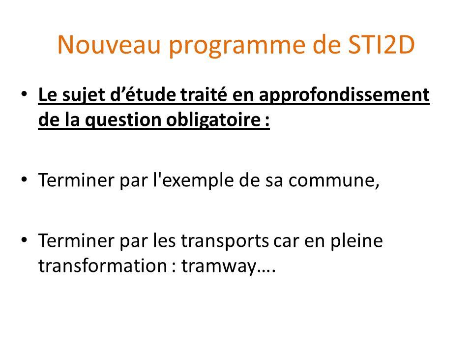 Nouveau programme de STI2D Le sujet détude traité en approfondissement de la question obligatoire : Terminer par l'exemple de sa commune, Terminer par