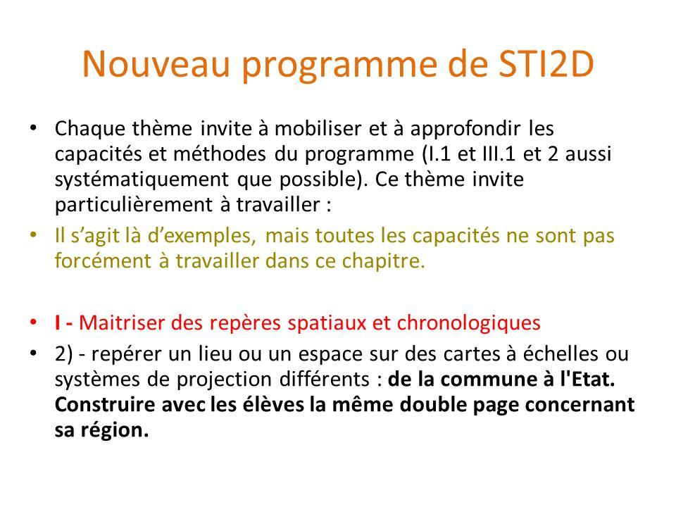 Nouveau programme de STI2D Chaque thème invite à mobiliser et à approfondir les capacités et méthodes du programme (I.1 et III.1 et 2 aussi systématiq