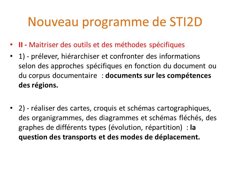 Nouveau programme de STI2D II - Maitriser des outils et des méthodes spécifiques 1) - prélever, hiérarchiser et confronter des informations selon des