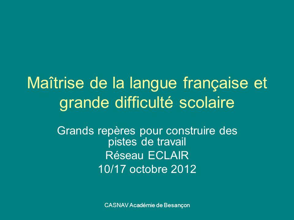CASNAV Académie de Besançon Maîtrise de la langue française et grande difficulté scolaire Grands repères pour construire des pistes de travail Réseau