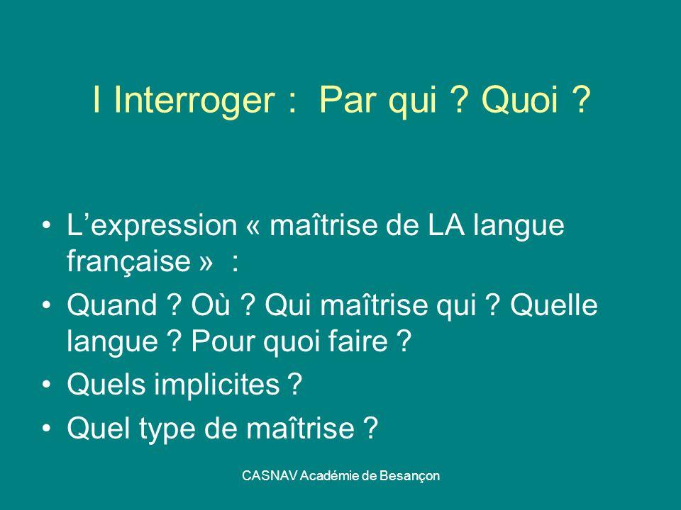 CASNAV Académie de Besançon I Interroger : Par qui ? Quoi ? Lexpression « maîtrise de LA langue française » : Quand ? Où ? Qui maîtrise qui ? Quelle l