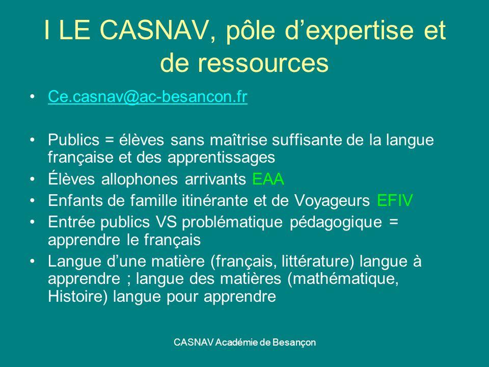 CASNAV Académie de Besançon I LE CASNAV, pôle dexpertise et de ressources Ce.casnav@ac-besancon.fr Publics = élèves sans maîtrise suffisante de la lan