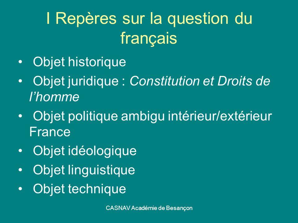CASNAV Académie de Besançon I Repères sur la question du français Objet historique Objet juridique : Constitution et Droits de lhomme Objet politique