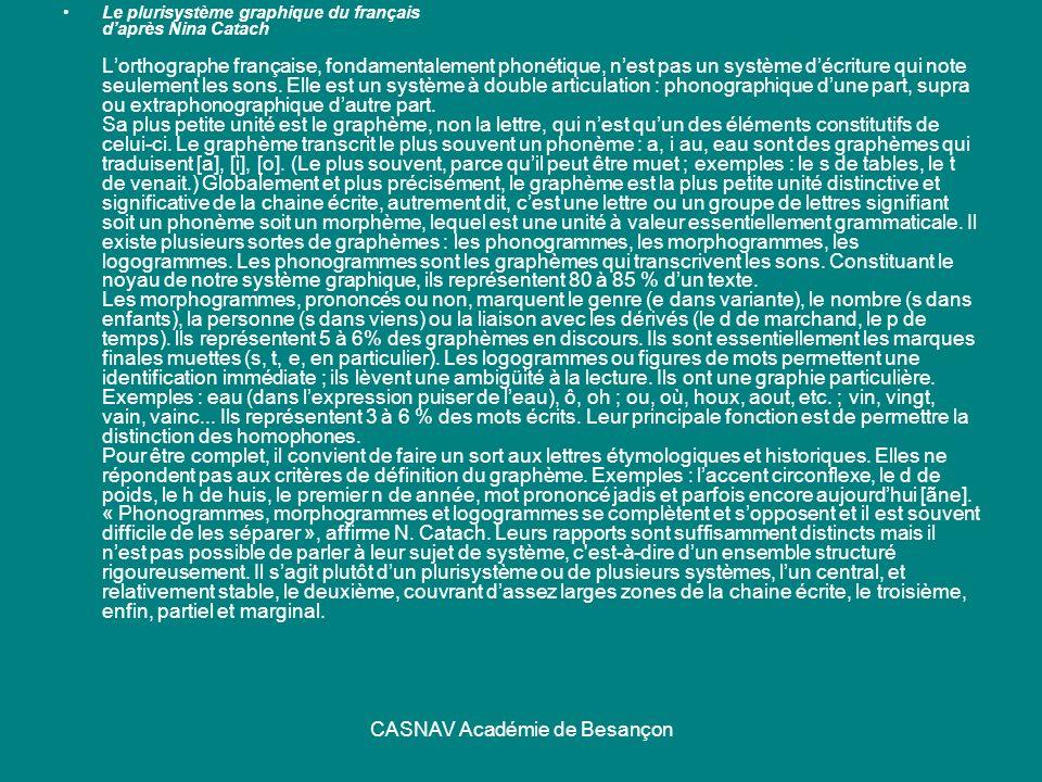 CASNAV Académie de Besançon Le plurisystème graphique du français daprès Nina Catach Lorthographe française, fondamentalement phonétique, nest pas un