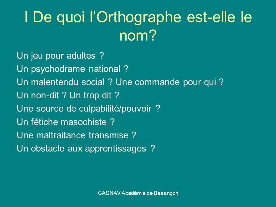 CASNAV Académie de Besançon I De quoi lOrthographe est-elle le nom? Un jeu pour adultes ? Un psychodrame national ? Un malentendu social ? Une command