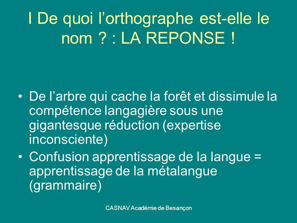 CASNAV Académie de Besançon I De quoi lorthographe est-elle le nom ? : LA REPONSE ! De larbre qui cache la forêt et dissimule la compétence langagière