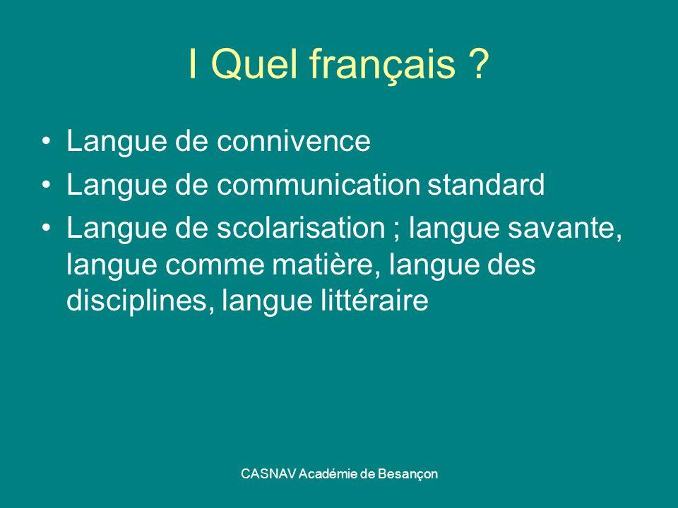 CASNAV Académie de Besançon I Quel français ? Langue de connivence Langue de communication standard Langue de scolarisation ; langue savante, langue c
