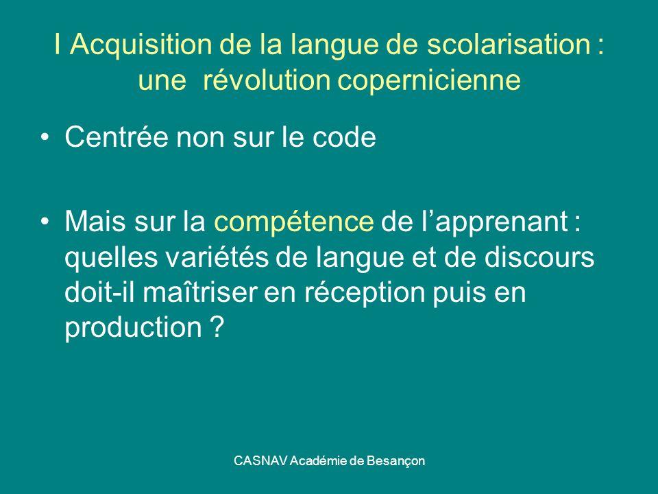 CASNAV Académie de Besançon I Acquisition de la langue de scolarisation : une révolution copernicienne Centrée non sur le code Mais sur la compétence