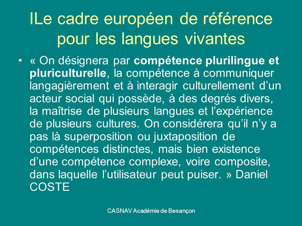 CASNAV Académie de Besançon ILe cadre européen de référence pour les langues vivantes « On désignera par compétence plurilingue et pluriculturelle, la
