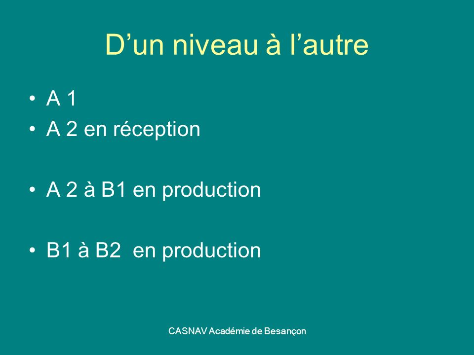CASNAV Académie de Besançon Dun niveau à lautre A 1 A 2 en réception A 2 à B1 en production B1 à B2 en production