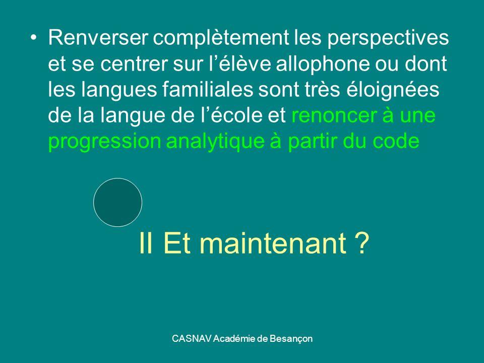 CASNAV Académie de Besançon II Et maintenant ? Renverser complètement les perspectives et se centrer sur lélève allophone ou dont les langues familial