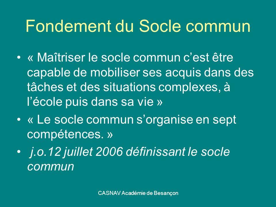 CASNAV Académie de Besançon Fondement du Socle commun « Maîtriser le socle commun cest être capable de mobiliser ses acquis dans des tâches et des sit