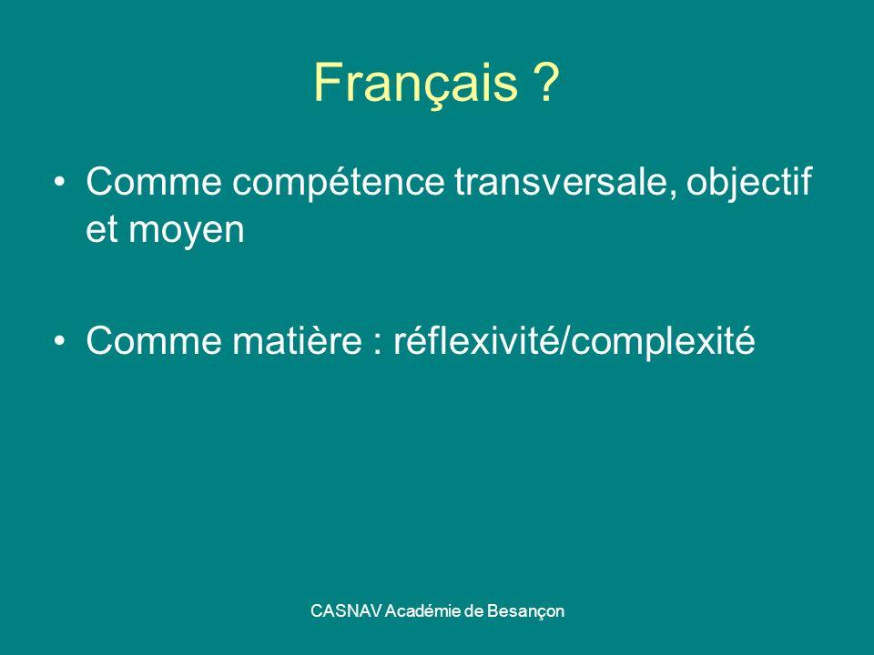 CASNAV Académie de Besançon Français ? Comme compétence transversale, objectif et moyen Comme matière : réflexivité/complexité