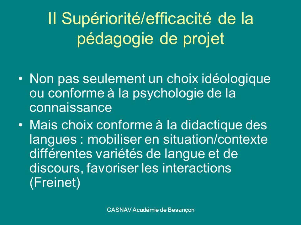 CASNAV Académie de Besançon II Supériorité/efficacité de la pédagogie de projet Non pas seulement un choix idéologique ou conforme à la psychologie de