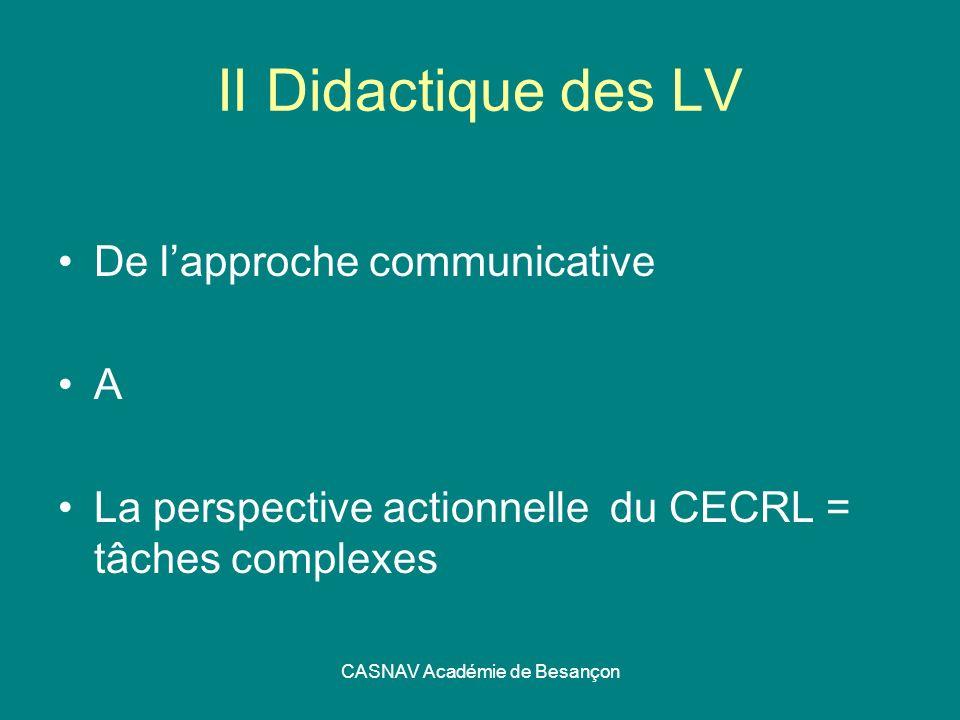 CASNAV Académie de Besançon II Didactique des LV De lapproche communicative A La perspective actionnelle du CECRL = tâches complexes