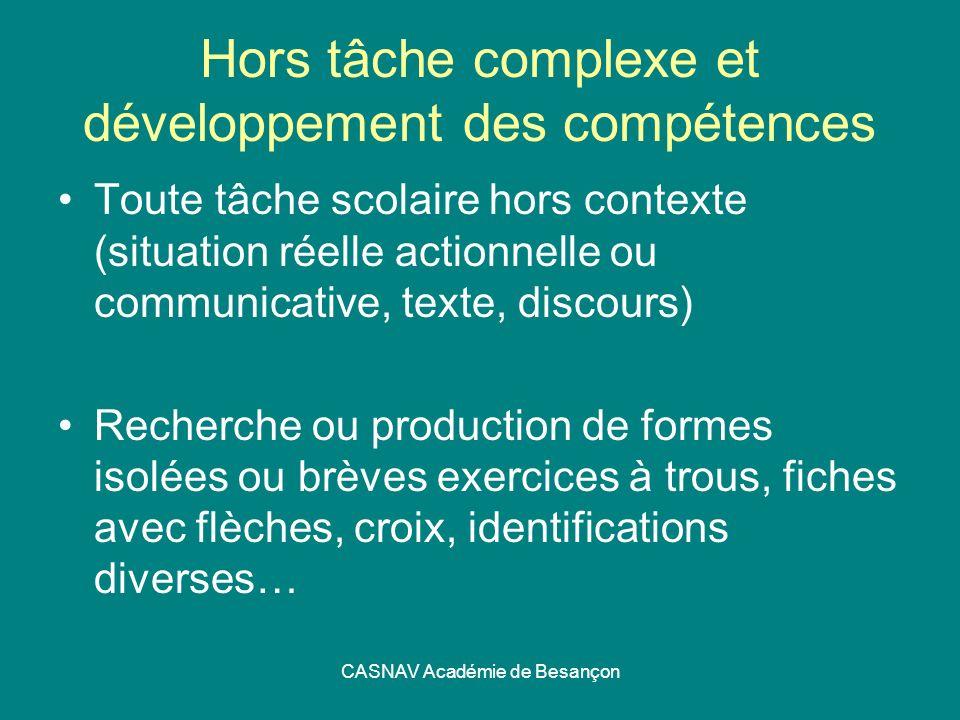 CASNAV Académie de Besançon Hors tâche complexe et développement des compétences Toute tâche scolaire hors contexte (situation réelle actionnelle ou c
