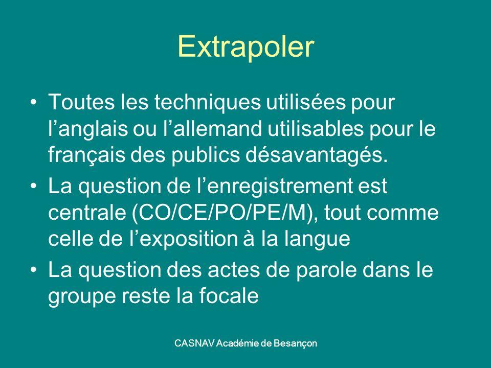CASNAV Académie de Besançon Extrapoler Toutes les techniques utilisées pour langlais ou lallemand utilisables pour le français des publics désavantagé