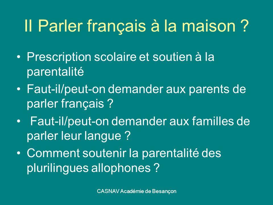 CASNAV Académie de Besançon II Parler français à la maison ? Prescription scolaire et soutien à la parentalité Faut-il/peut-on demander aux parents de