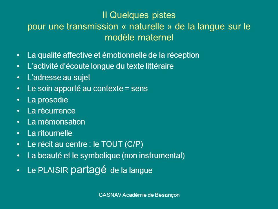 CASNAV Académie de Besançon II Quelques pistes pour une transmission « naturelle » de la langue sur le modèle maternel La qualité affective et émotion