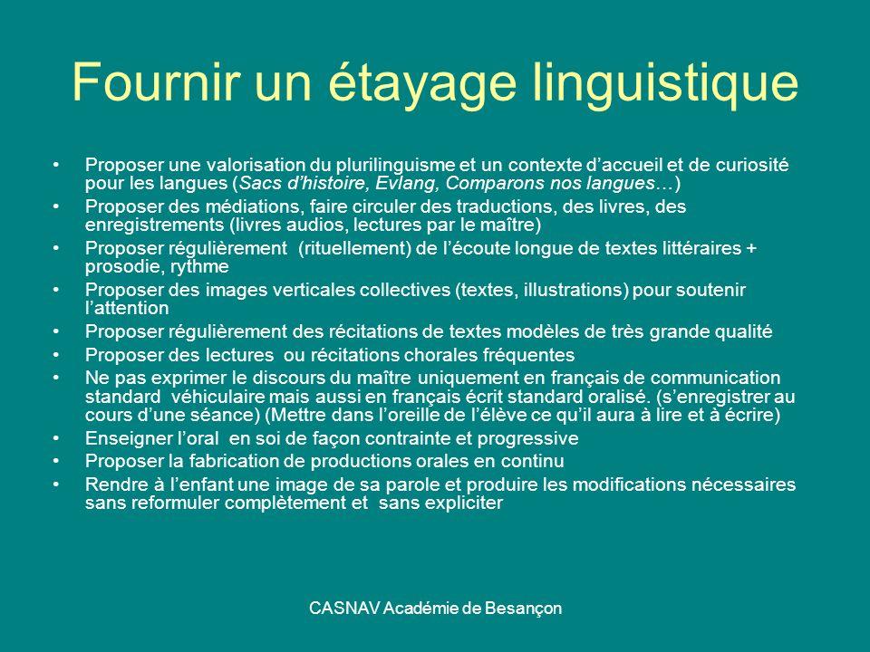 CASNAV Académie de Besançon Fournir un étayage linguistique Proposer une valorisation du plurilinguisme et un contexte daccueil et de curiosité pour l