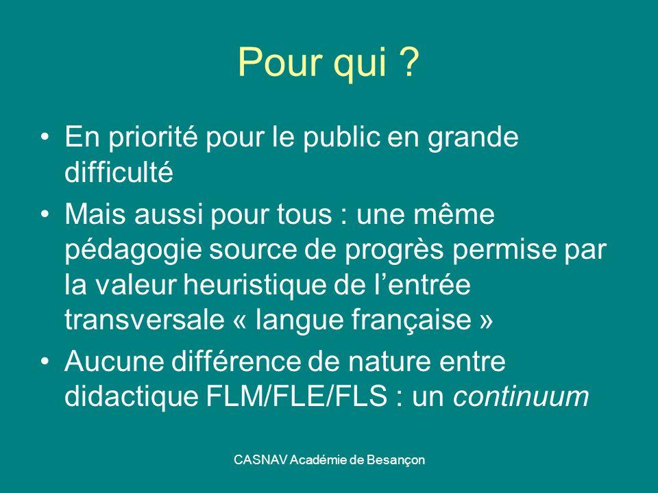 CASNAV Académie de Besançon Pour qui ? En priorité pour le public en grande difficulté Mais aussi pour tous : une même pédagogie source de progrès per
