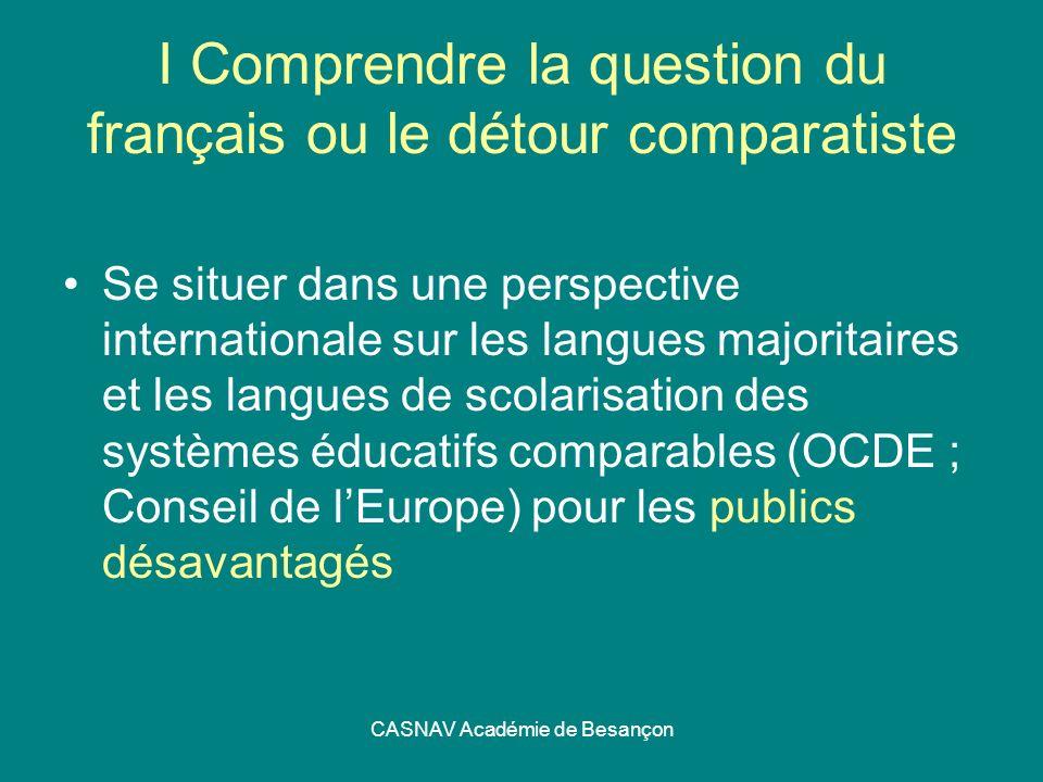 CASNAV Académie de Besançon I Comprendre la question du français ou le détour comparatiste Se situer dans une perspective internationale sur les langu