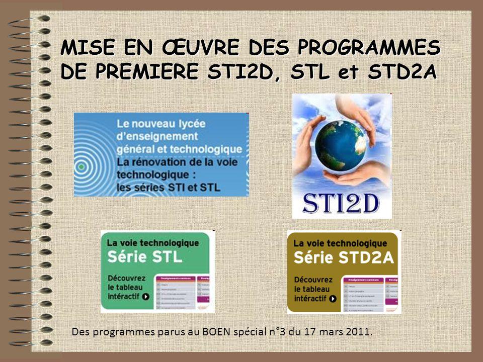 Des programmes parus au BOEN sp é cial n°3 du 17 mars 2011. MISE EN ŒUVRE DES PROGRAMMES DE PREMIERE STI2D, STL et STD2A