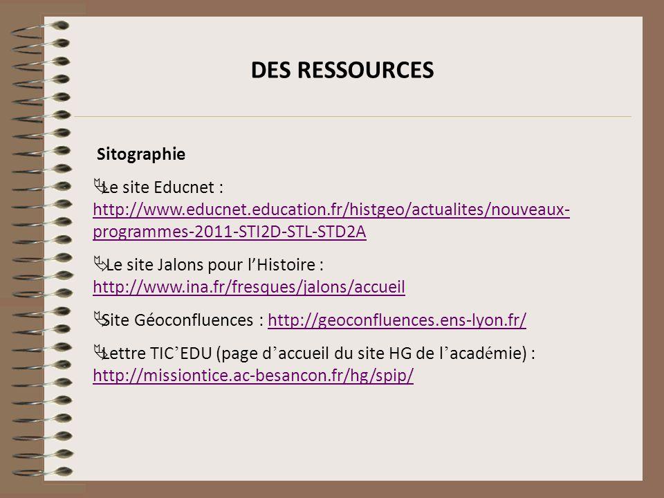 DES RESSOURCES Sitographie Le site Educnet : http://www.educnet.education.fr/histgeo/actualites/nouveaux- programmes-2011-STI2D-STL-STD2A http://www.e
