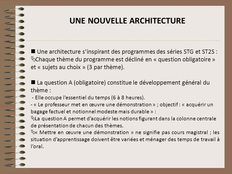 Une architecture sinspirant des programmes des séries STG et ST2S : Chaque thème du programme est décliné en « question obligatoire » et « sujets au c