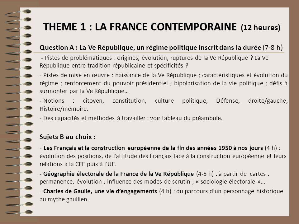 THEME 1 : LA FRANCE CONTEMPORAINE (12 heures) Question A : La Ve République, un régime politique inscrit dans la durée (7-8 h) - Pistes de problématiq
