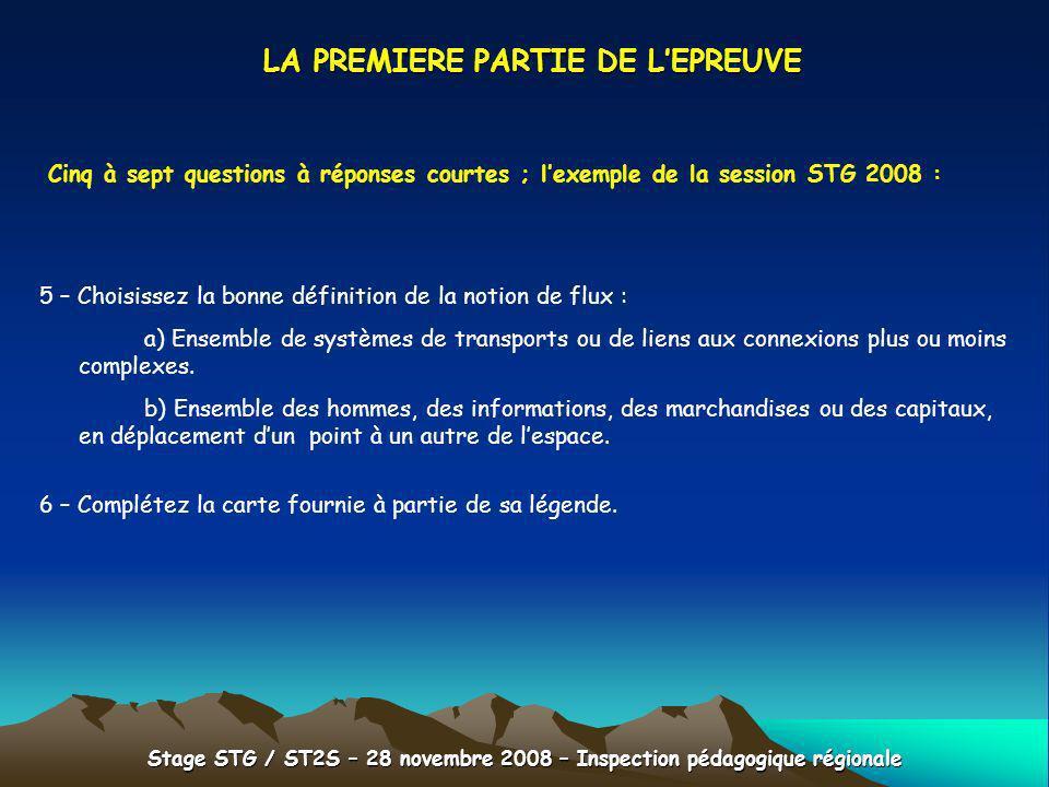 Stage STG / ST2S – 28 novembre 2008 – Inspection pédagogique régionale LA PREMIERE PARTIE DE LEPREUVE Cinq à sept questions à réponses courtes ; lexem