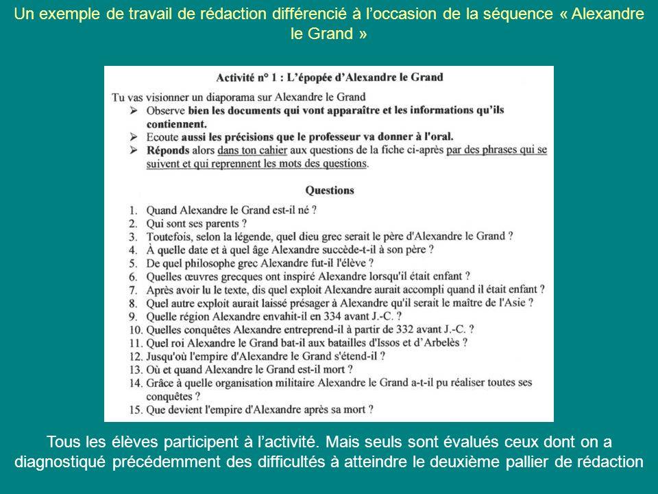Un exemple de travail de rédaction différencié à loccasion de la séquence « Alexandre le Grand » Tous les élèves participent à lactivité. Mais seuls s