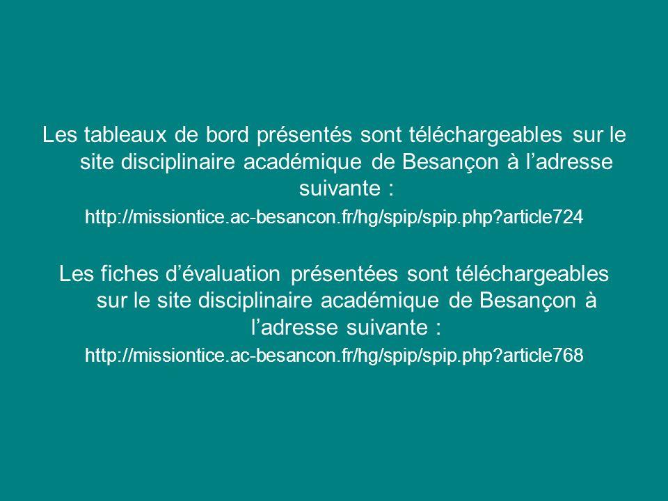 Les tableaux de bord présentés sont téléchargeables sur le site disciplinaire académique de Besançon à ladresse suivante : http://missiontice.ac-besan