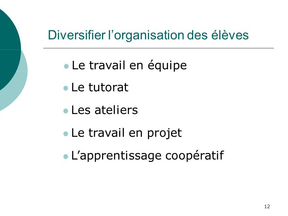 12 Diversifier lorganisation des élèves Le tutorat Les ateliers Le travail en projet Lapprentissage coopératif Le travail en équipe