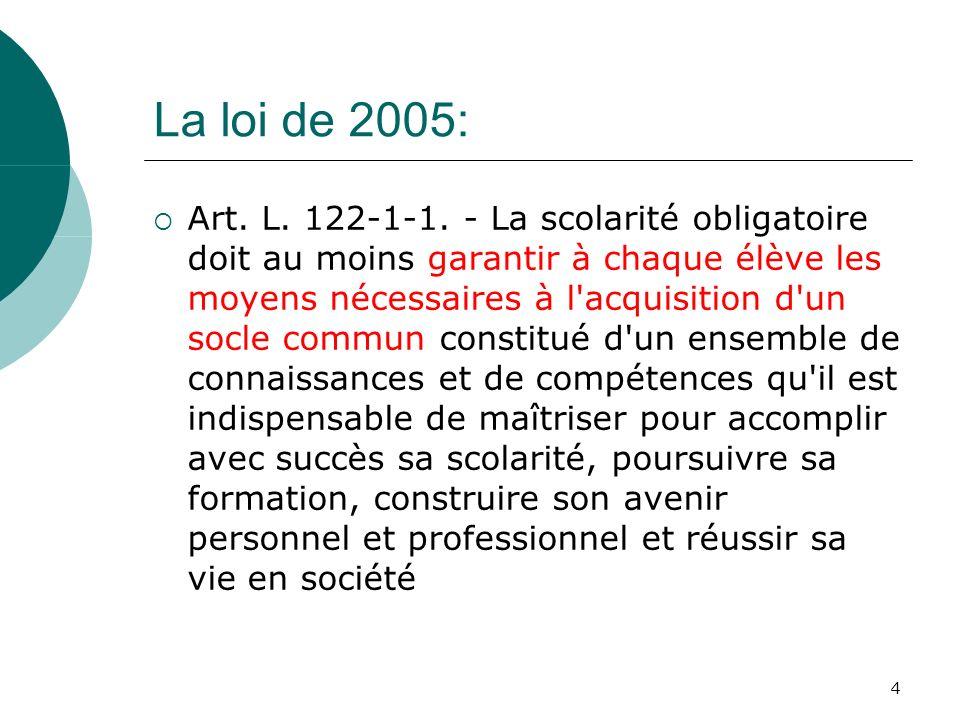 4 La loi de 2005: Art. L. 122-1-1. - La scolarité obligatoire doit au moins garantir à chaque élève les moyens nécessaires à l'acquisition d'un socle