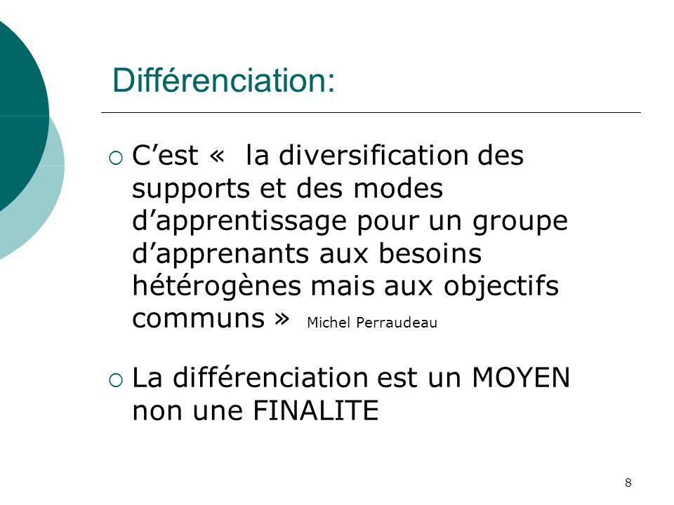 8 Différenciation: Cest « la diversification des supports et des modes dapprentissage pour un groupe dapprenants aux besoins hétérogènes mais aux obje