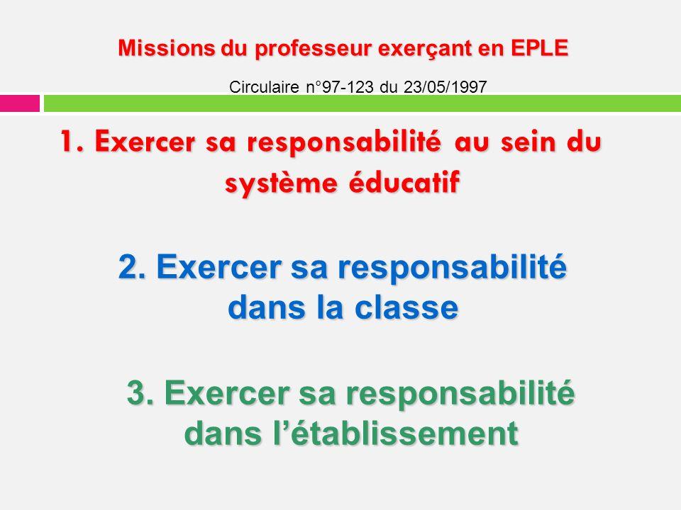 1. Exercer sa responsabilité au sein du système éducatif Missions du professeur exerçant en EPLE Missions du professeur exerçant en EPLE Circulaire n°