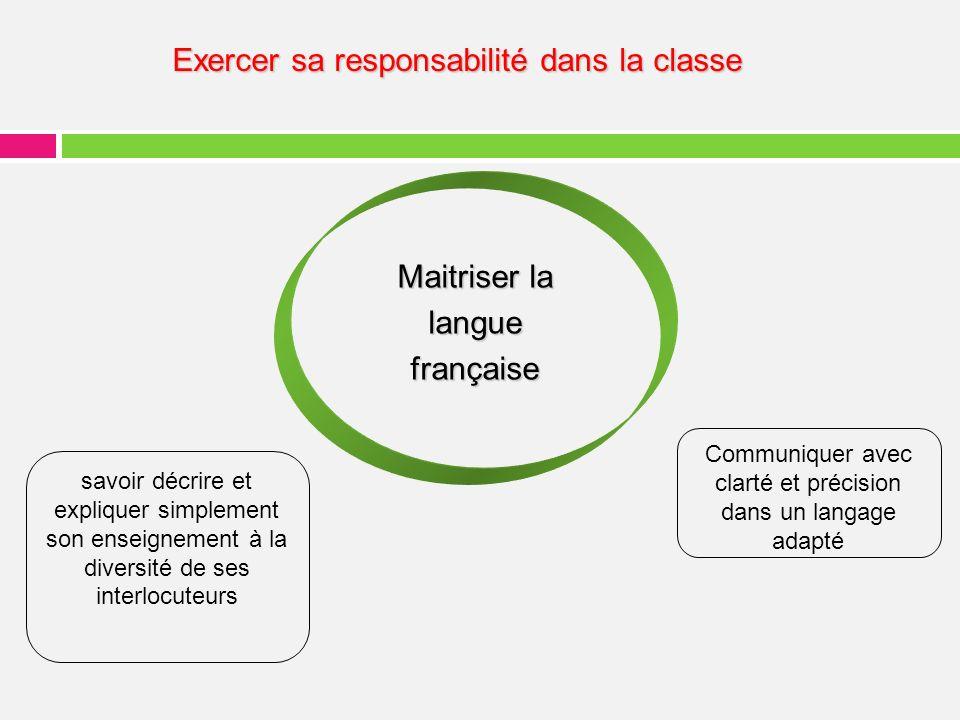 Maitriser la langue française Communiquer avec clarté et précision dans un langage adapté savoir décrire et expliquer simplement son enseignement à la diversité de ses interlocuteurs Exercer sa responsabilité dans la classe
