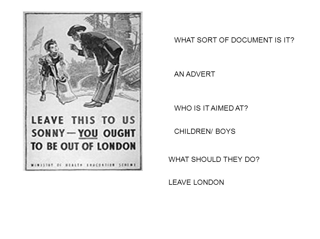 WHAT SORT OF DOCUMENT IS IT? WHO IS IT AIMED AT? AN ADVERT CHILDREN/ BOYS WHAT SHOULD THEY DO? LEAVE LONDON