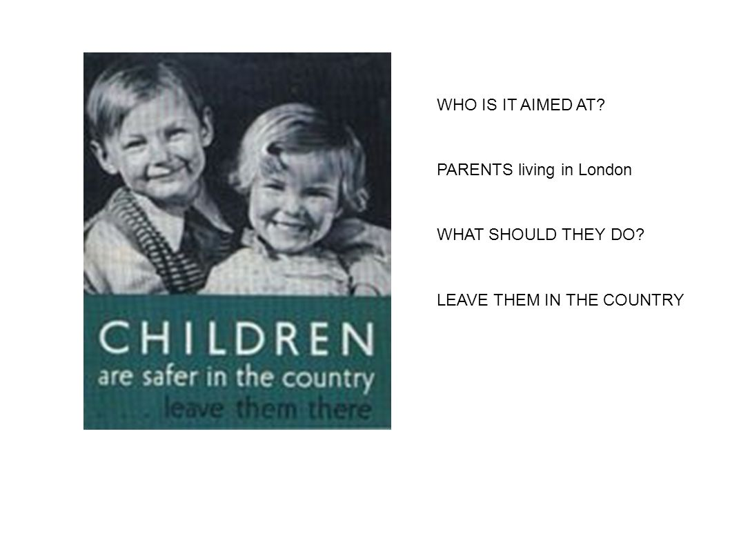 WHO IS IT AIMED AT? PARENTS living in London WHAT SHOULD THEY DO? LEAVE THEM IN THE COUNTRY
