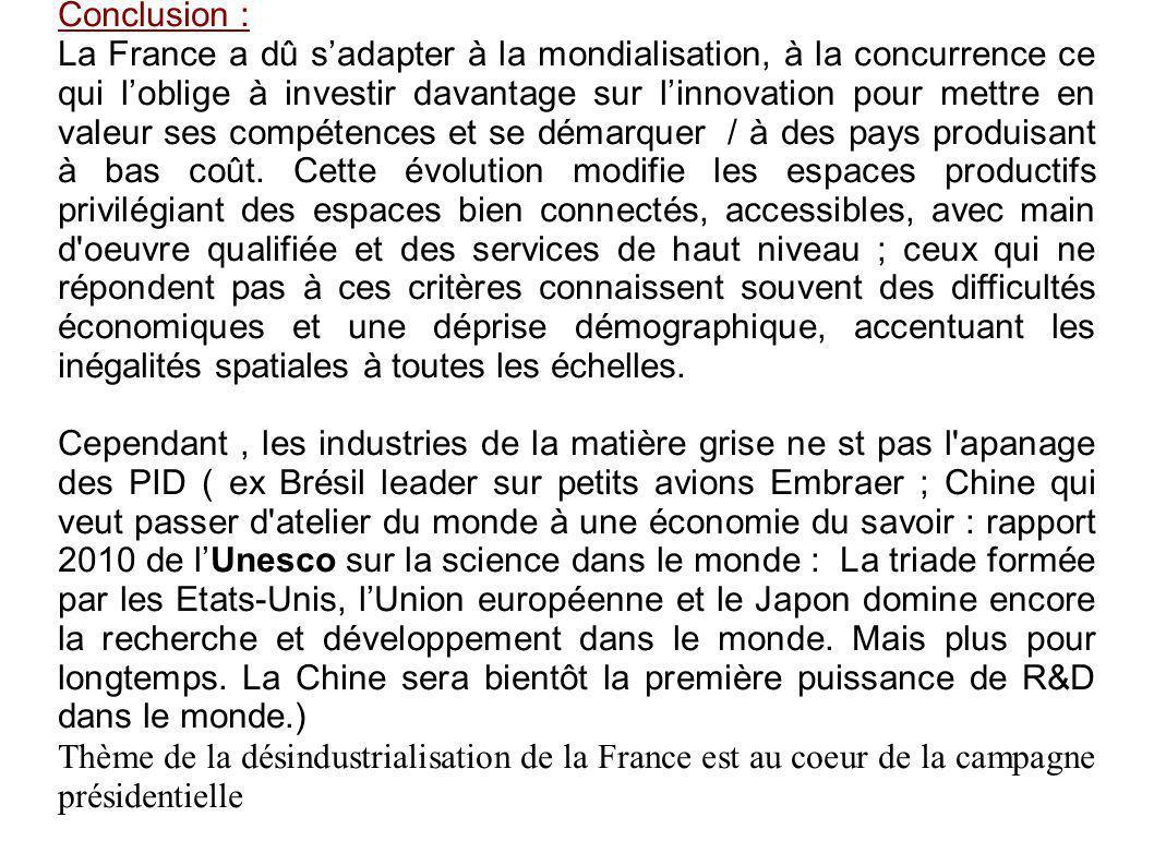 Conclusion : La France a dû sadapter à la mondialisation, à la concurrence ce qui loblige à investir davantage sur linnovation pour mettre en valeur ses compétences et se démarquer / à des pays produisant à bas coût.