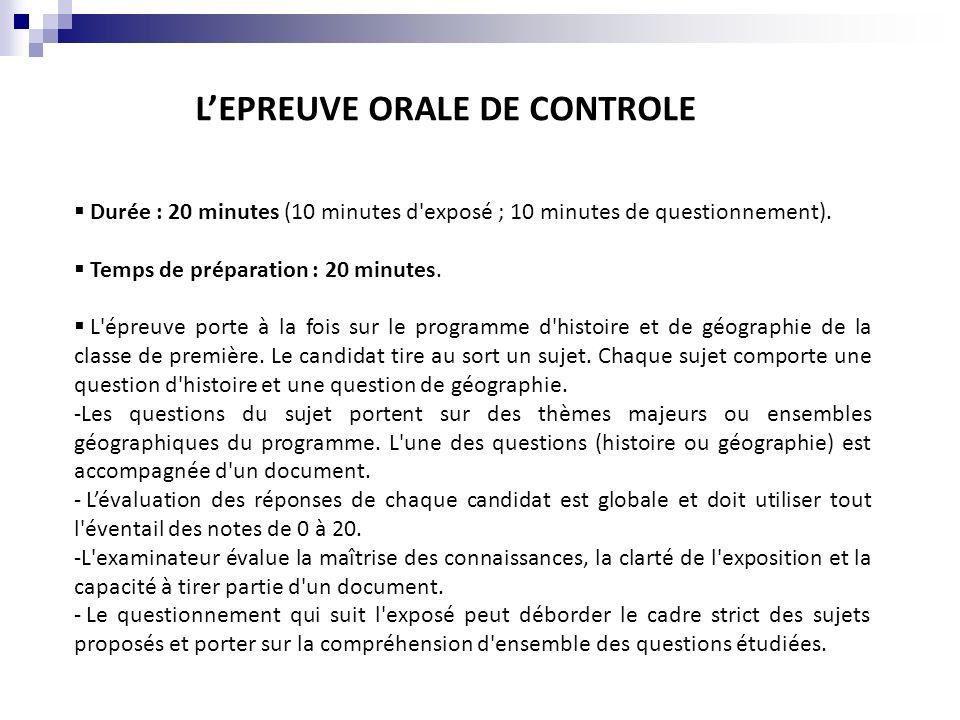 Durée : 20 minutes (10 minutes d'exposé ; 10 minutes de questionnement). Temps de préparation : 20 minutes. L'épreuve porte à la fois sur le programme