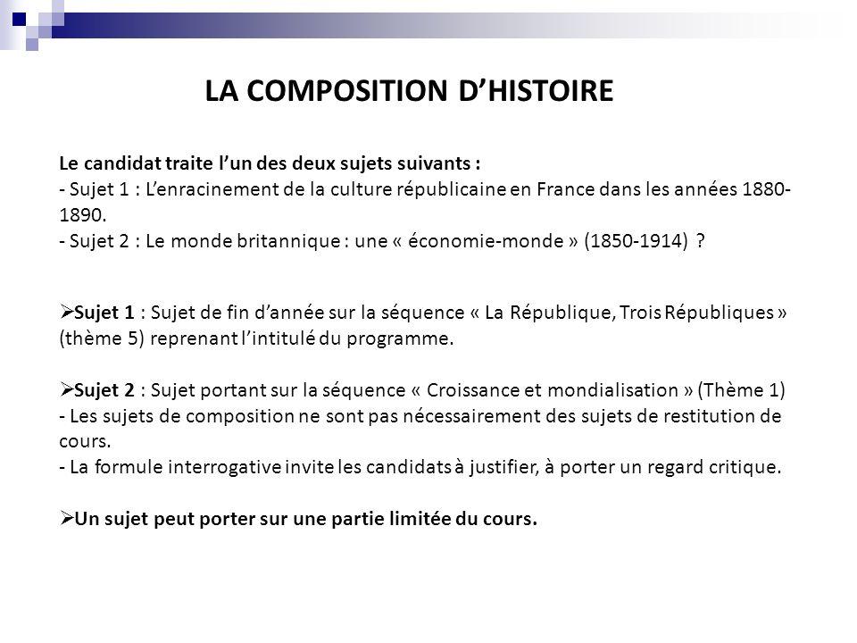 LA COMPOSITION DHISTOIRE Sujet 1 : Sujet de fin dannée sur la séquence « La République, Trois Républiques » (thème 5) reprenant lintitulé du programme