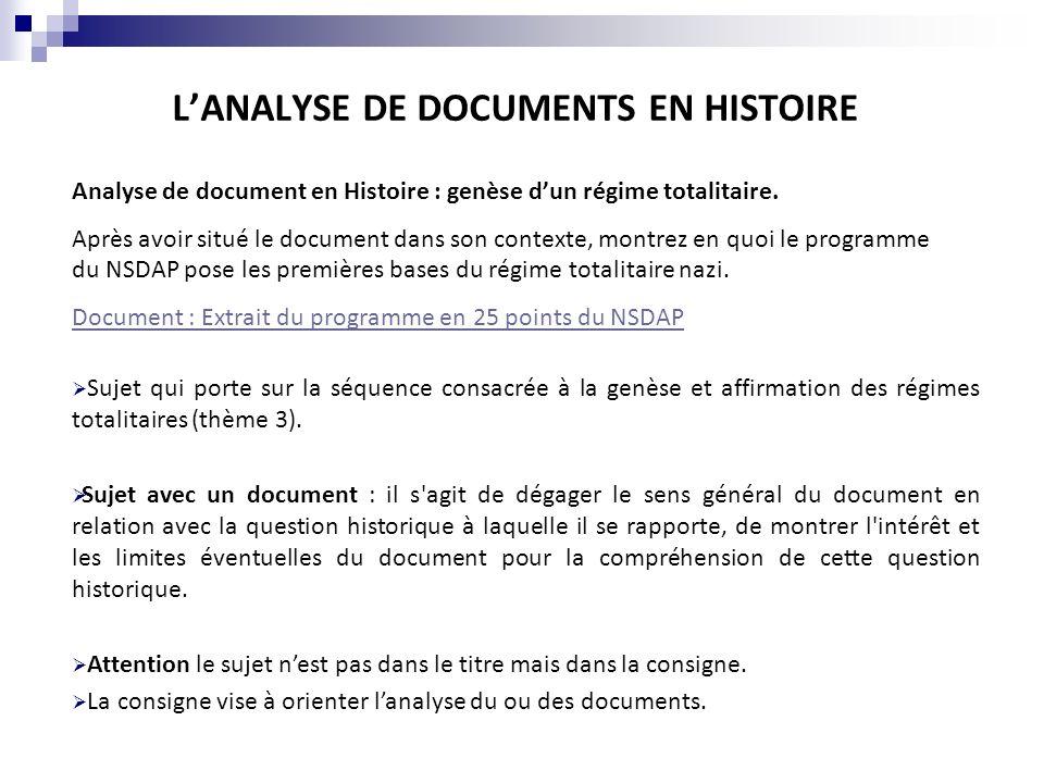 LANALYSE DE DOCUMENTS EN HISTOIRE Analyse de document en Histoire : genèse dun régime totalitaire. Après avoir situé le document dans son contexte, mo
